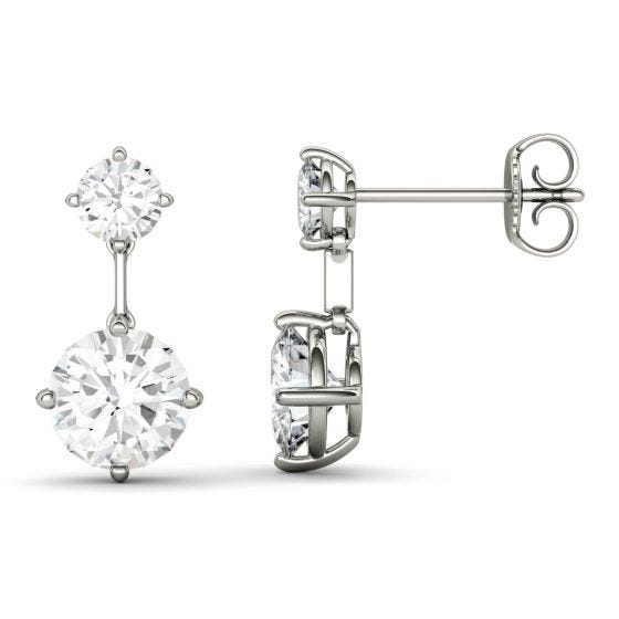 2.46 CTW DEW Round Forever One Moissanite Two Stone Drop Earrings 14K White Gold