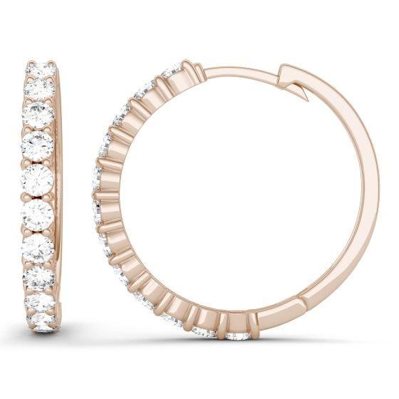 1.08 CTW DEW Round Forever One Moissanite Shared Prong Hoop Earrings 14K Rose Gold