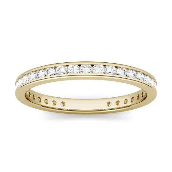 0.55 CTW DEW Round Forever One Moissanite Channel Set Eternity Band Ring 14K Yellow Gold