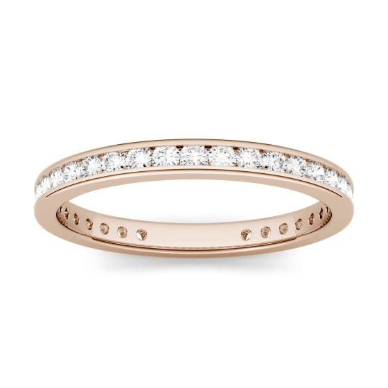 0.55 CTW DEW Round Forever One Moissanite Channel Set Eternity Band Ring 14K Rose Gold