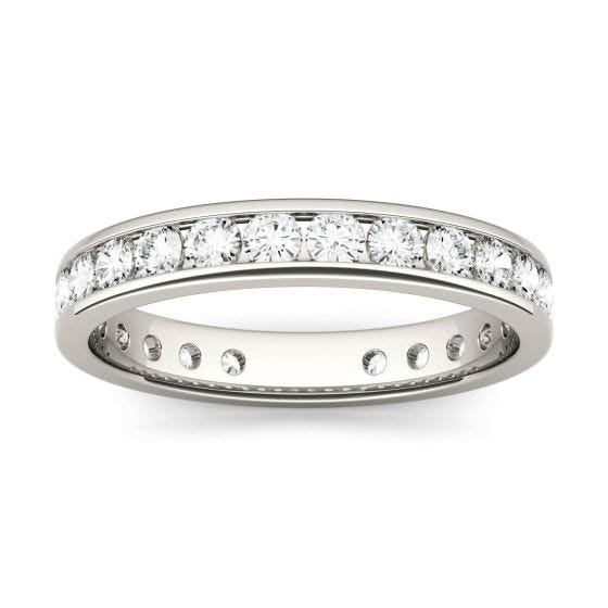 1.01 CTW DEW Round Forever One Moissanite Channel Set Eternity Band Ring 14K White Gold