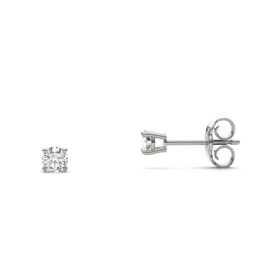 0.20 CTW DEW Round Forever One Moissanite Four Prong Solitaire Stud Earrings 14K White Gold