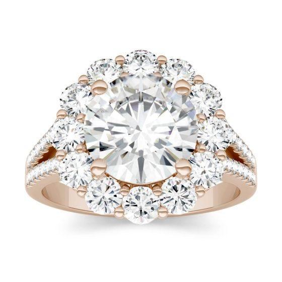 4.22 CTW DEW Round Forever One Moissanite Split Shank Halo Engagement Ring 14K Rose Gold