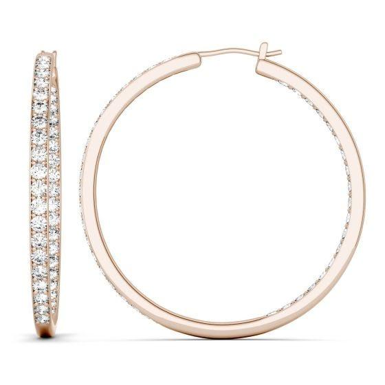 2.34 CTW DEW Round Forever One Moissanite Slim Hoop Earrings 14K Rose Gold