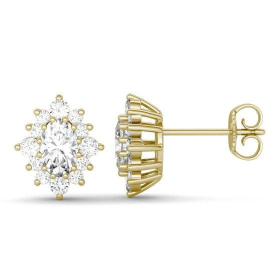 1.40 CTW DEW Oval Forever One Moissanite Halo Stud Earrings 14K Yellow Gold