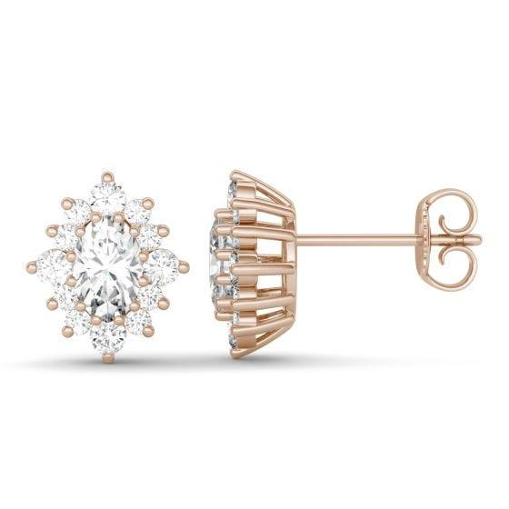 1.40 CTW DEW Oval Forever One Moissanite Halo Stud Earrings 14K Rose Gold