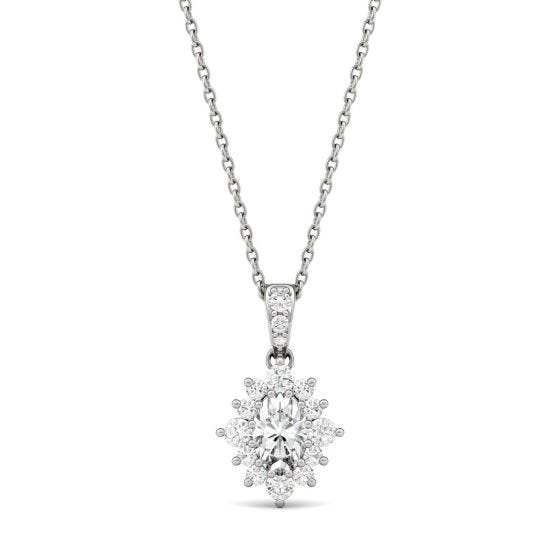 0.71 CTW DEW Oval Forever One Moissanite Halo Necklace 14K White Gold