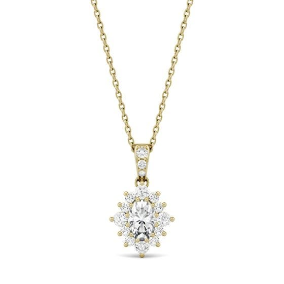 0.71 CTW DEW Oval Forever One Moissanite Halo Necklace 14K Yellow Gold