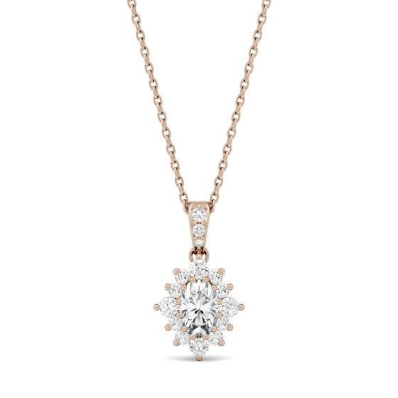 0.71 CTW DEW Oval Forever One Moissanite Halo Necklace 14K Rose Gold