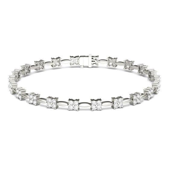 1.76 CTW DEW Round Forever One Moissanite Floral Tennis Bracelet 14K White Gold