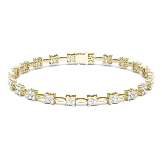 1.76 CTW DEW Round Forever One Moissanite Floral Tennis Bracelet 14K Yellow Gold