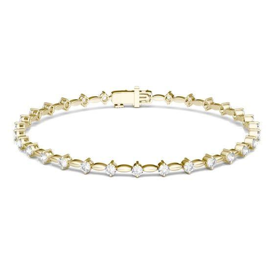 0.93 CTW DEW Round Forever One Moissanite Link Tennis Bracelet 14K Yellow Gold