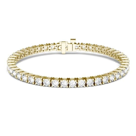 7.20 CTW DEW Round Forever One Moissanite Classic Four Prong Tennis Bracelet 14K Yellow Gold