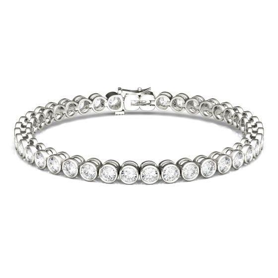 4.00 CTW DEW Round Forever One Moissanite Bezel Tennis Bracelet 14K White Gold