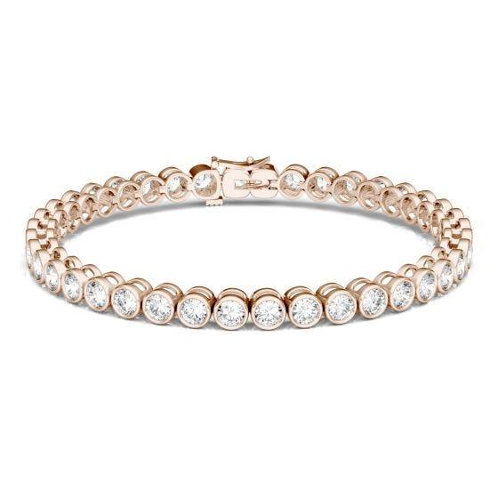 4.00 CTW DEW Round Forever One Moissanite Bezel Tennis Bracelet 14K Rose Gold