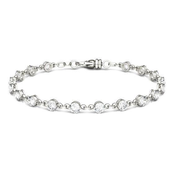 4.14 CTW DEW Round Forever One Moissanite Link Bracelet 14K White Gold