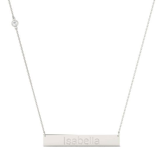 0.10 CTW DEW Round Forever One Moissanite Personalized Block Bar Necklace 925 White Silver
