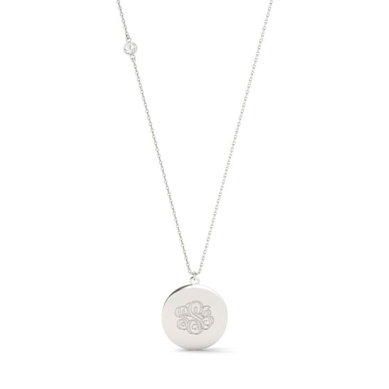 0.10 CTW DEW Round Forever One Moissanite Personalized Circle Shaped Monogram Necklace 925 White Silver