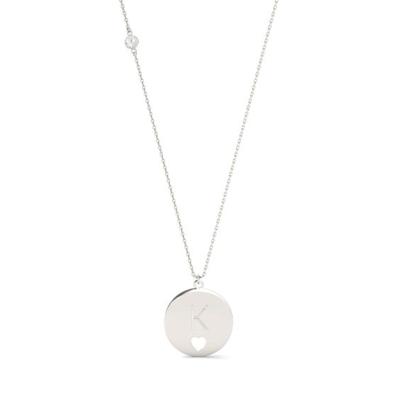 0.10 CTW DEW Round Forever One Moissanite Personalized Block Initial & Heart Cut-Out Necklace 925 White Silver