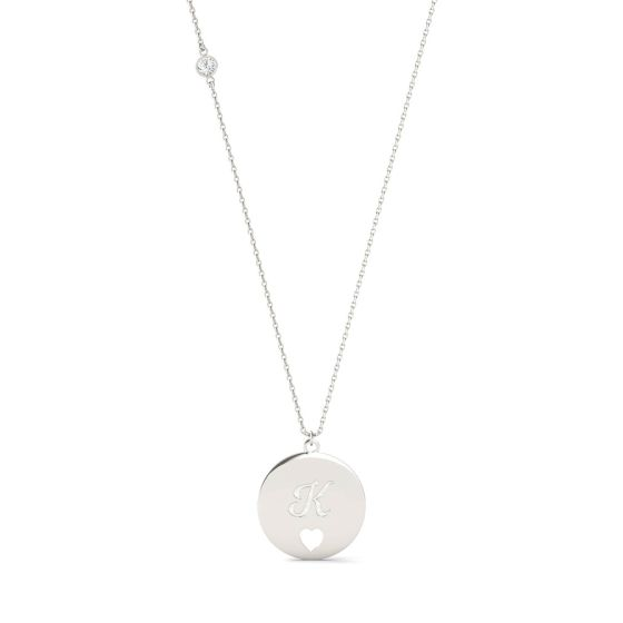 0.10 CTW DEW Round Forever One Moissanite Personalized Script Initial & Heart Cut-Out Necklace 925 White Silver