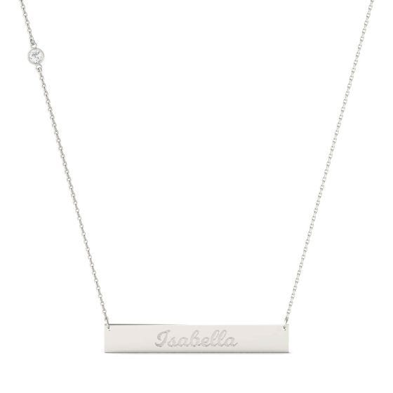 0.10 CTW DEW Round Forever One Moissanite Personalized Script Bar Necklace 925 White Silver