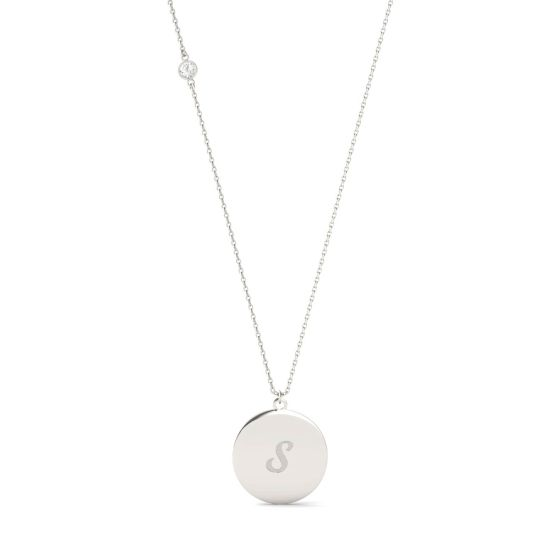 0.10 CTW DEW Round Forever One Moissanite Personalized Script Initial Necklace 925 White Silver