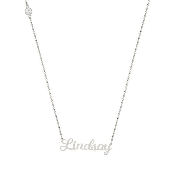 0.10 CTW DEW Round Forever One Moissanite Personalized Signature Necklace 925 White Silver