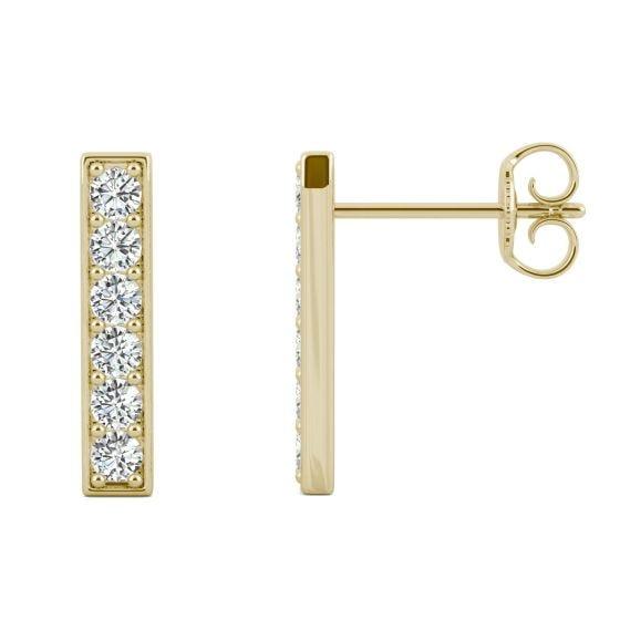 0.48 CTW DEW Round Forever One Moissanite Vertical Bar Stud Earrings 14K Yellow Gold