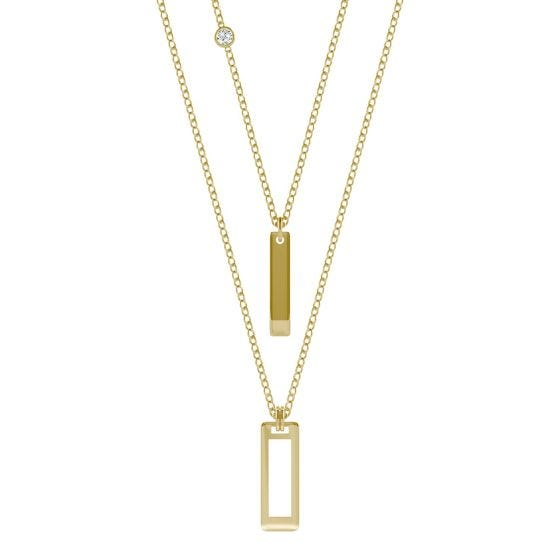 Layered Rectangle Drop Necklace 14K Yellow Gold