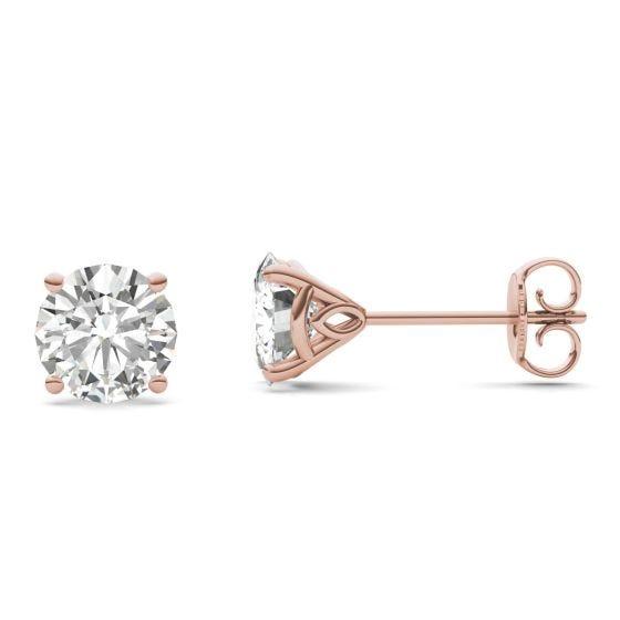 2.08 CTW DEW Round Forever One Moissanite Martini Stud Earrings 14K Rose Gold
