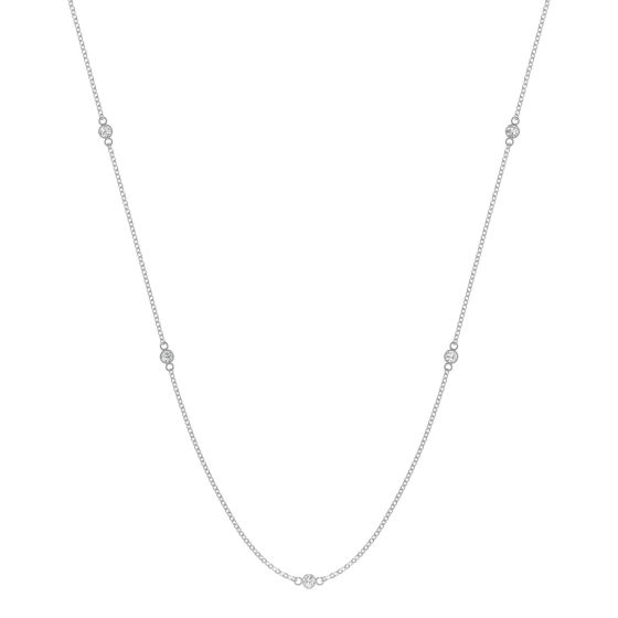 0.17 CTW DEW Round Forever One Moissanite Classic Station Necklace 14K White Gold