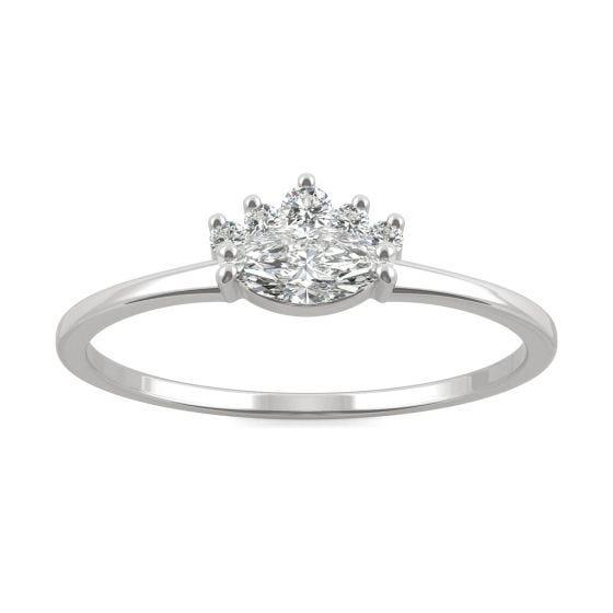 0.29 CTW DEW Marquise Forever One Moissanite Royal Ring 14K White Gold
