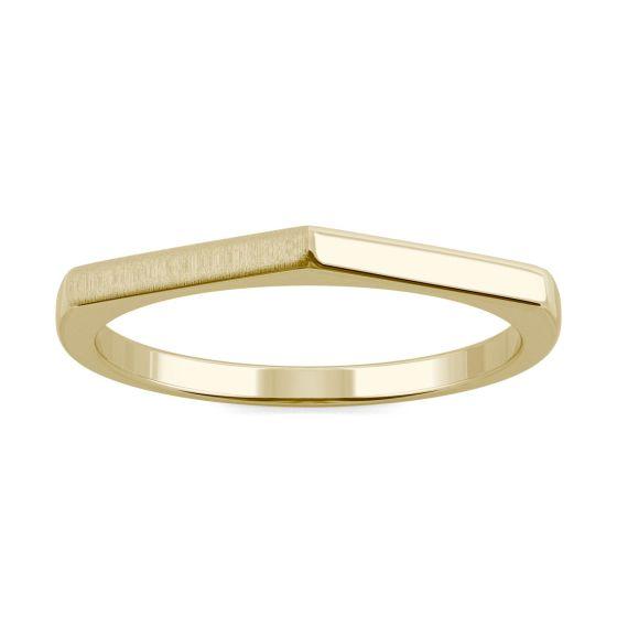 Hexagon Stacker Band Ring 14K Yellow Gold
