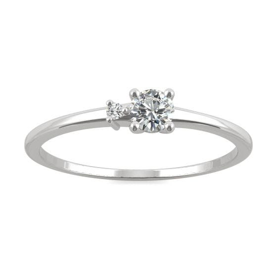 0.17 CTW DEW Round Forever One Moissanite Petite Double Round Stackable Ring 14K White Gold