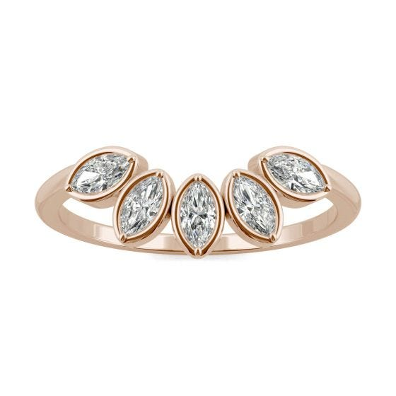 0.35 CTW DEW Marquise Forever One Moissanite Curved Petal Ring 14K Rose Gold