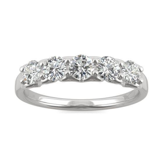 0.84 CTW DEW Round Forever One Moissanite Five Stone Moissanite Wedding Band Ring 14K White Gold