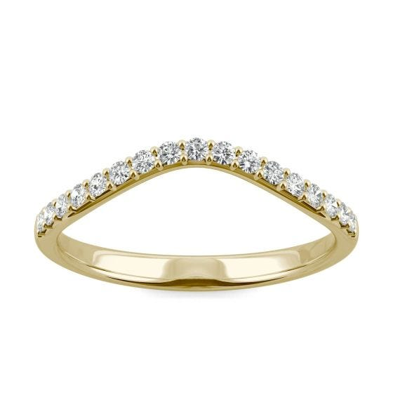 0.22 CTW DEW Round Forever One Moissanite Curved Classic Wedding Ring 14K Yellow Gold