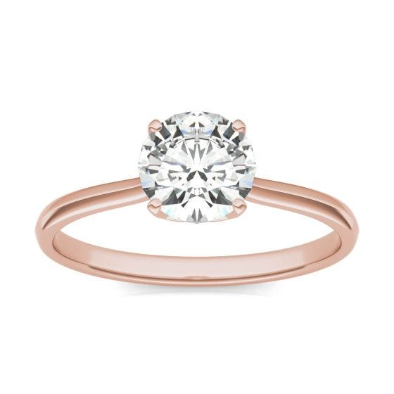 1.05 CTW DEW Round Forever One Moissanite Signature Four Prong Solitaire Ring 14K Rose Gold