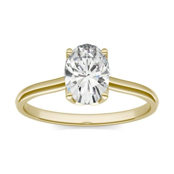 1.51 CTW DEW Oval Forever One Moissanite Signature Oval Solitaire Ring 14K Yellow Gold