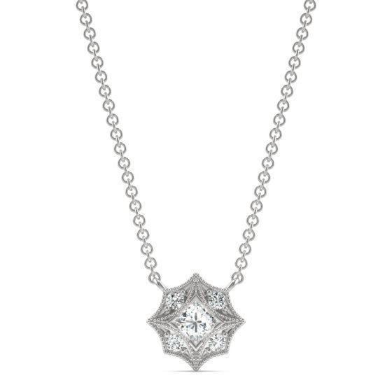 0.24 CTW DEW Square Forever One Moissanite Signature Milgrain Necklace 14K White Gold