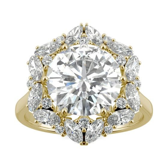 5.11 CTW DEW Round Forever One Moissanite Signature Halo Hearts & Arrows Statement Ring 14K Yellow Gold