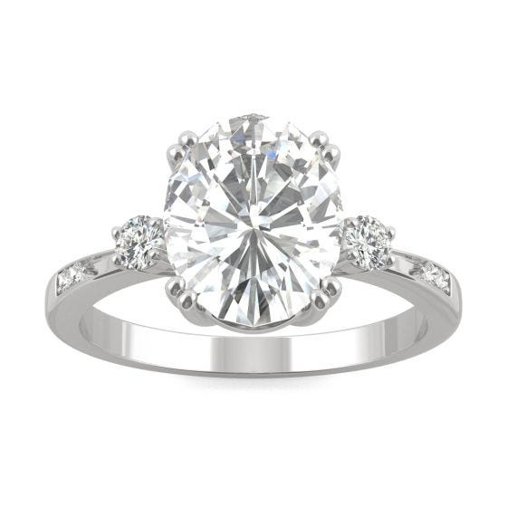 3.14 CTW DEW Oval Forever One Moissanite Solitaire with Side Accents Engagement Ring 14K White Gold