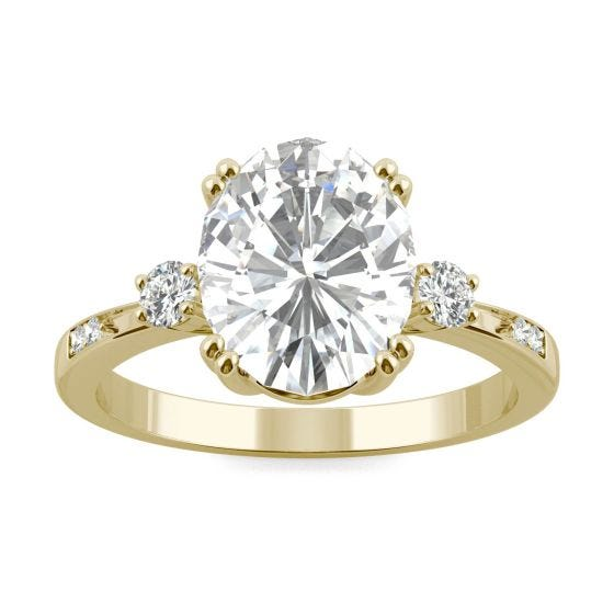 3.14 CTW DEW Oval Forever One Moissanite Solitaire with Side Accents Engagement Ring 14K Yellow Gold