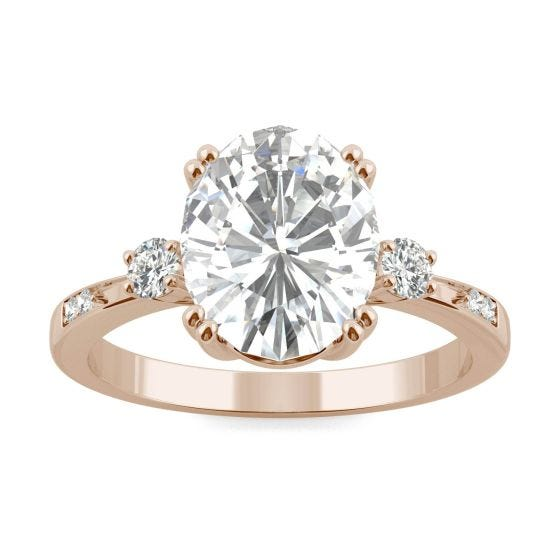 3.14 CTW DEW Oval Forever One Moissanite Solitaire with Side Accents Engagement Ring 14K Rose Gold