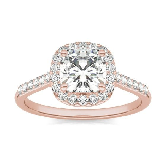 1.60 CTW DEW Cushion Forever One Moissanite Signature Halo with Side Stones Ring 14K Rose Gold