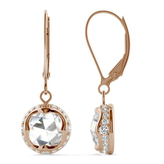 1.25 CTW DEW Round Forever One Moissanite Drop with Hidden Halo Earrings 14K Rose Gold