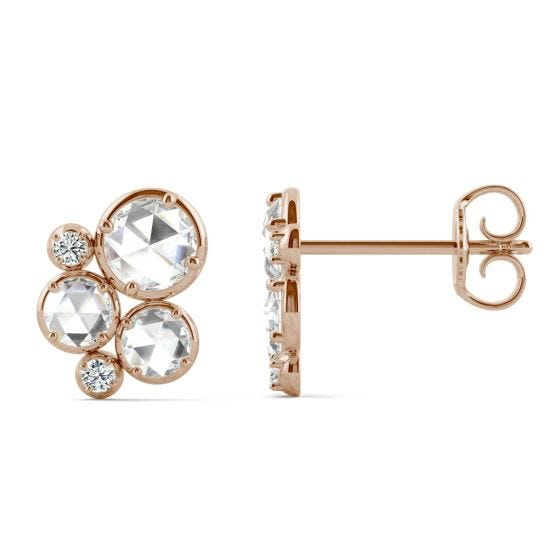 0.56 CTW DEW Round Forever One Moissanite Large Circle Cluster Earrings 14K Rose Gold
