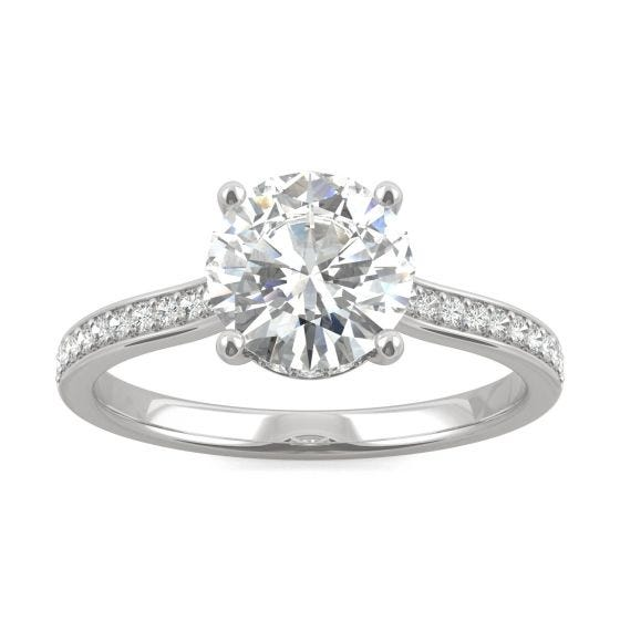 1.84 CTW DEW Round Forever One Moissanite Hidden Halo with Side Accents Engagement Ring 14K White Gold