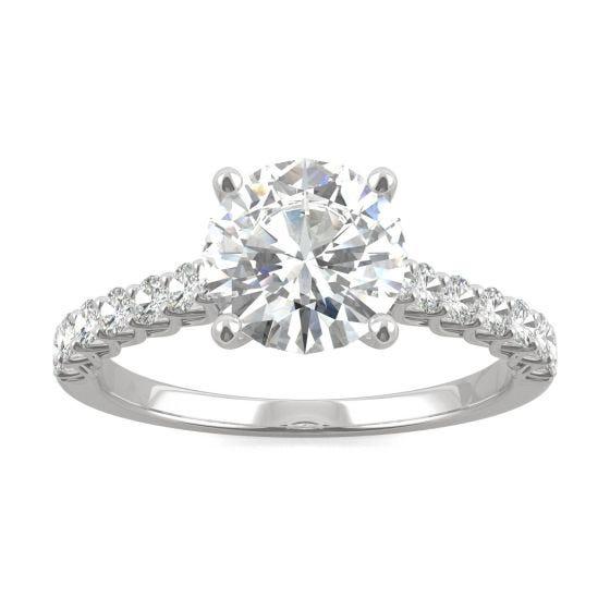 2.02 CTW DEW Round Forever One Moissanite Trellis Engagement Ring 14K White Gold
