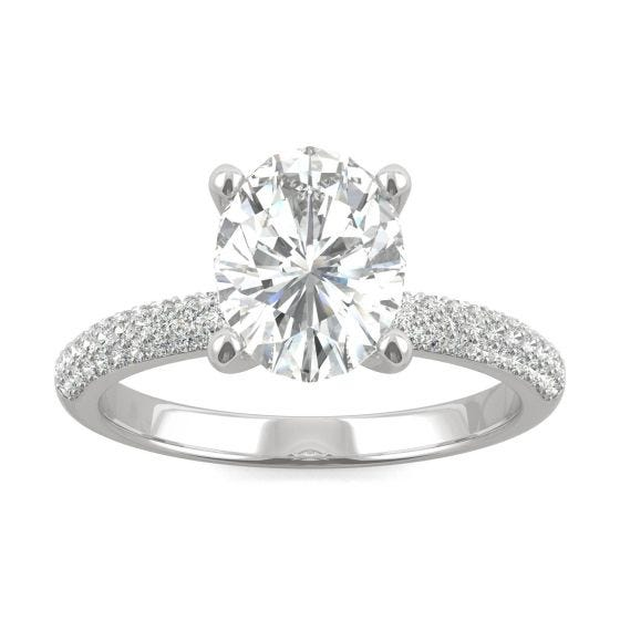 2.31 CTW DEW Oval Forever One Moissanite Micro Pave Ring 14K White Gold